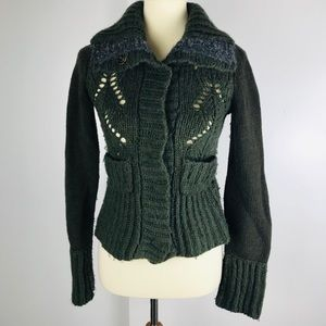 Free People Forest Green Chunky Loose Knit Sweater